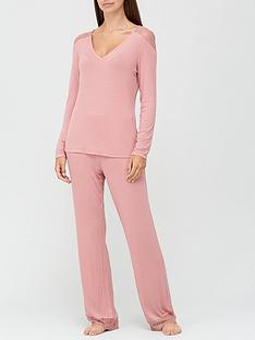 v-by-very-long-sleeve-lace-insert-pyjamas-blush