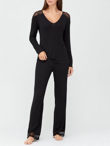 v-by-very-long-sleeve-lace-insert-pyjamas-black