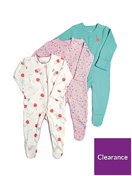 mamas-papas-baby-girls-3-pack-cherries-sleepsuits-multi