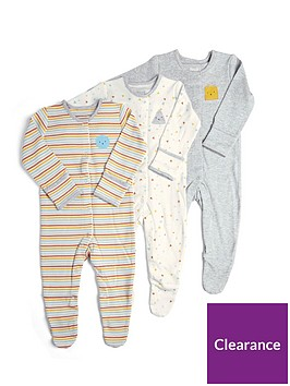 mamas-papas-baby-unisex-3-pack-shapes-sleepsuits-grey