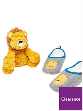 joules-boys-lion-slippers-and-toy-gift-set-grey