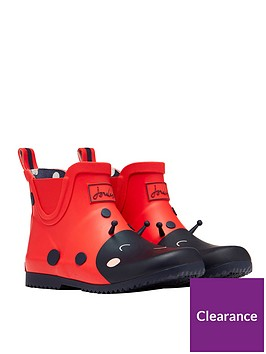 joules-girls-ladybird-short-wellies-red