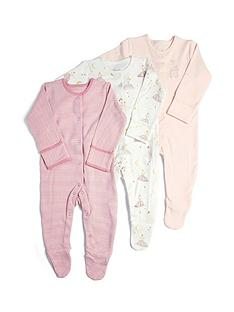mamas-papas-baby-girls-3-pack-ballerina-sleepsuits-pink