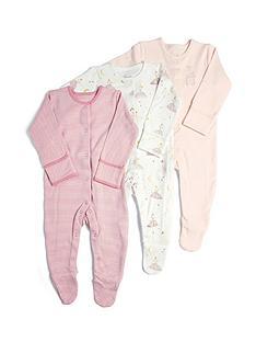 mamas-papas-baby-girls-3-pack-ballerina-sleepsuits-pink