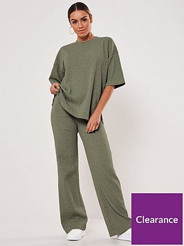 missguided-missguided-rib-t-shirt-wide-leg-set-khaki