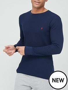 polo-ralph-lauren-waffle-long-sleeve-lounge-top-cruise-navynbsp