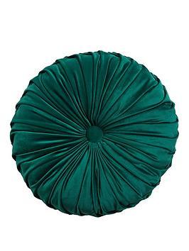 round-pleated-velvet-cushion-emerald
