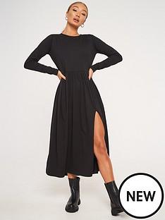 missguided-midi-long-sleeve-smock-dress