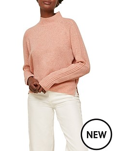 whistles-funnel-neck-flecked-merino-wool-knit-pink