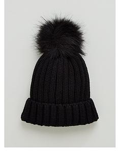 v-by-very-unisex-pom-beanie-black