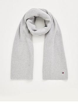 tommy-hilfiger-ribbed-cashmere-blend-scarf-grey
