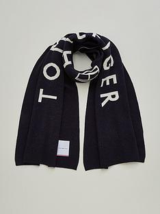 tommy-hilfiger-logo-scarf-black