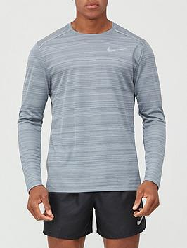 nike-dry-miler-top-long-sleeve-grey