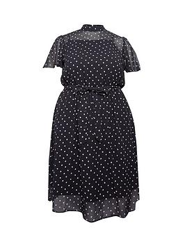 dorothy-perkins-curvenbspditsy-short-sleeve-chiffon-dress-black