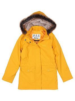 barbour-girls-bournemouth-faux-fur-hooded-rain-coat-ochre