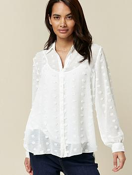 wallis-petite-dobby-shirt-ivory