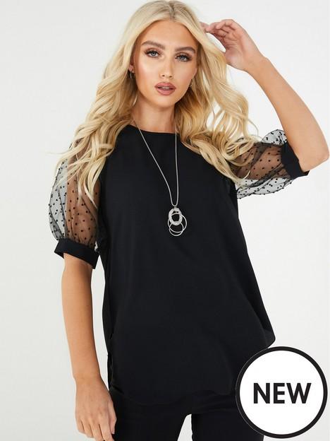 quiz-bubble-crepe-mesh-polka-dot-necklace-top-black