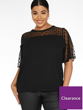 quiz-curve-mesh-polka-dot-top-black