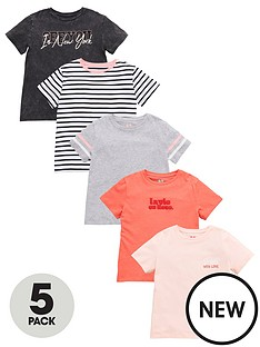 v-by-very-girls-5-pack-short-sleeve-slogan-stripe-t-shirt-set-multi