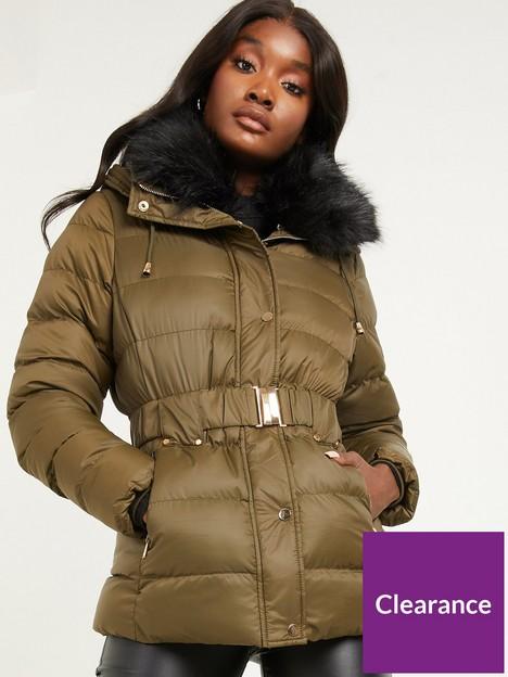 quiz-padded-fur-belted-parka-jacket-khaki