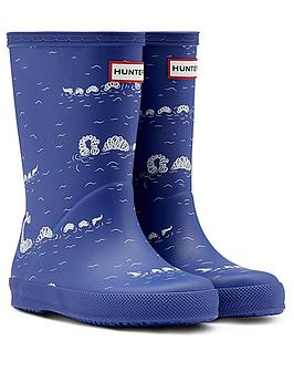 hunter-kids-original-first-classic-nessie-print-wellington-boot-blue