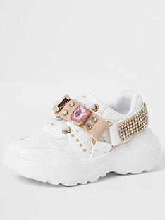 river-island-mini-mini-girls-embellished-chunky-trainers--nbspwhite