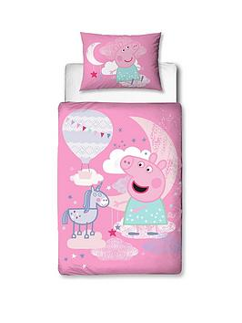 Product photograph showing Peppa Pig Stardust Junior Duvet Cover Set