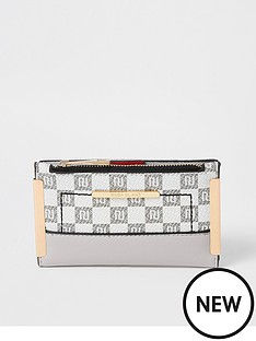 river-island-check-monogram-metal-corner-mini-purse-light-grey