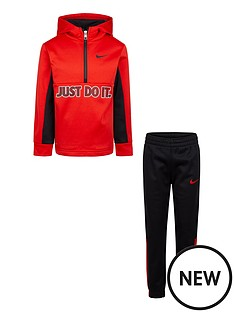 nike-younger-boys-therma-half-zip-set-red