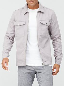 river-island-long-sleeve-zip-through-oxford-shirt-grey