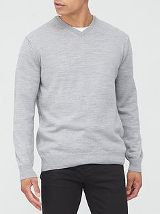 very-man-v-neck-jumper-grey-marl