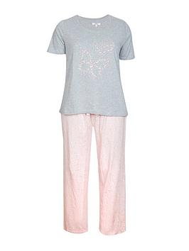 evans-pink-and-grey-butterfly-pj-set