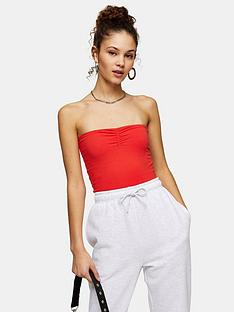 topshop-ruched-bandeau-red