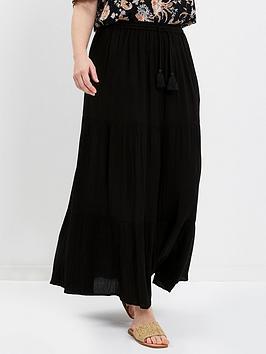 evans-black-tiered-maxi-skirt