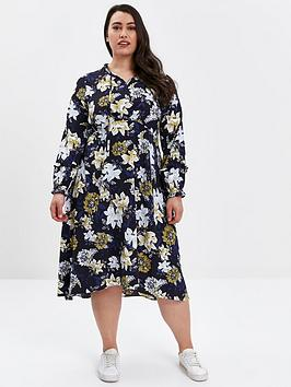 evans-floral-print-tie-neck-dress-navynbsp