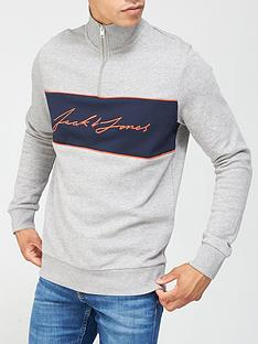 jack-jones-colour-block-half-zip-sweat-topnbsp--light-grey-marl