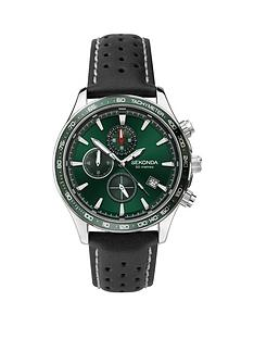 sekonda-sekonda-green-dual-time-dial-black-leather-strap-mens-watch