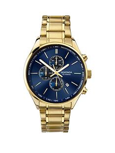 sekonda-sekonda-blue-sunray-dual-time-dial-gold-stainless-steel-bracelet-mens-watch