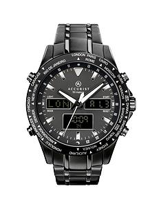 accurist-accurist-black-and-silver-detail-world-time-dial-black-stainless-steel-bracelet-mens-watch