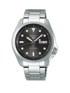 seiko-seiko-gunmetal-grey-sunray-daydate-automatic-dial-stainless-steel-bracelet-mens-watch