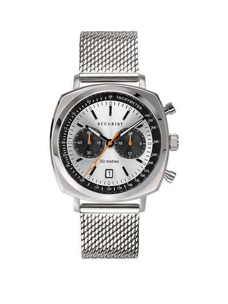 accurist-retro-silver-and-black-detail-square-bezel-multi-dial-stainless-steel-mesh-strap-mens-watch