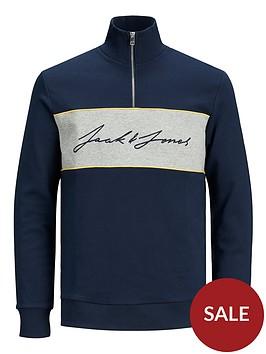 jack-jones-junior-boys-logo-half-zip-sweat-navy