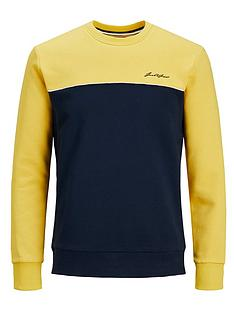 jack-jones-junior-boys-colourblock-crew-sweat-yellow