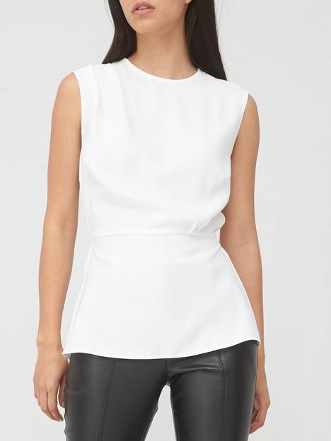 v-by-very-pleated-sleeveless-shell-top-ivory