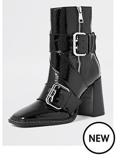 river-island-leather-buckle-detail-square-toe-calf-boot-black