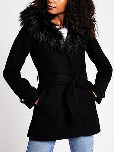 river-island-faux-fur-trim-hooded-belted-short-coat-black
