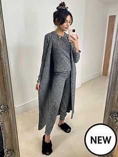 michelle-keegan-ribbed-longline-cardigan-grey-marl
