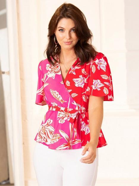 pour-moi-tie-detail-woven-wrap-top-pink-floral