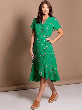 pour-moi-frill-detail-woven-midi-wrap-dress-green-floral