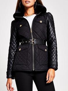 river-island-lightweight-quilted-belted-jacket-black